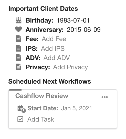 Scheduled Workflows Stay In The Client Card In Hubly