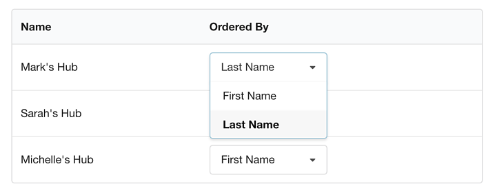 Client Settings Table in the Settings Page In Hubly
