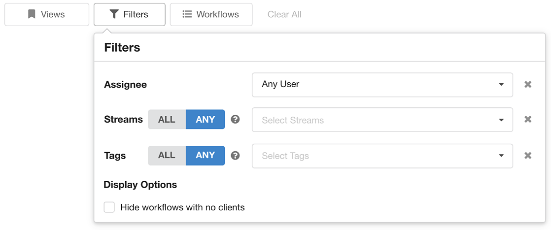 Filtering Workflows By Assignee In Hubly