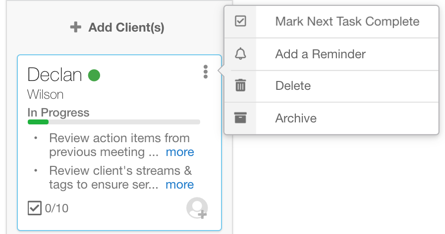 Quick Actions On Client Workflows In Hubly