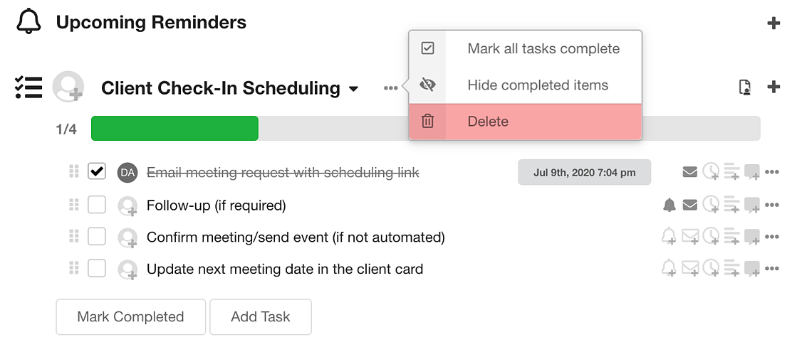 A quick way to complete workflow tasks in Hubly